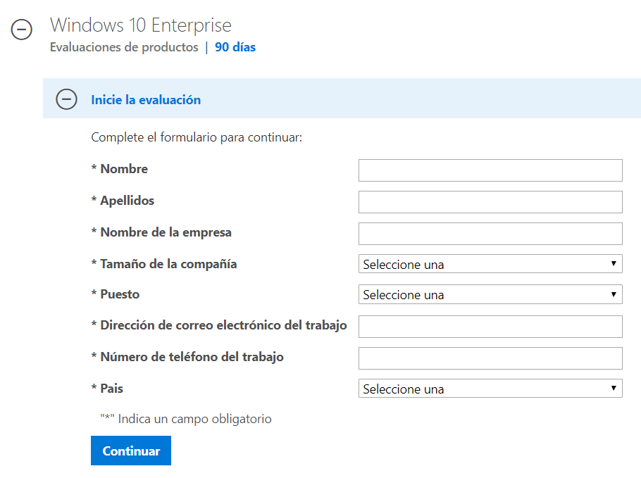 prueba Windows 10 Enterprise