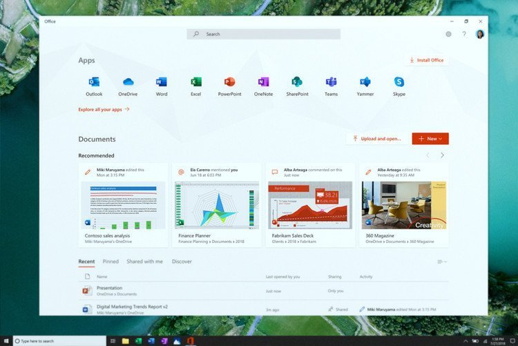 Nuevo Office para Windows 10 19H1