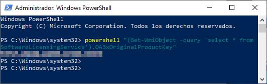 PowerShell clave de Windows