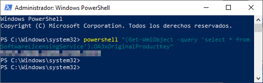 PowerShell clave de Windows