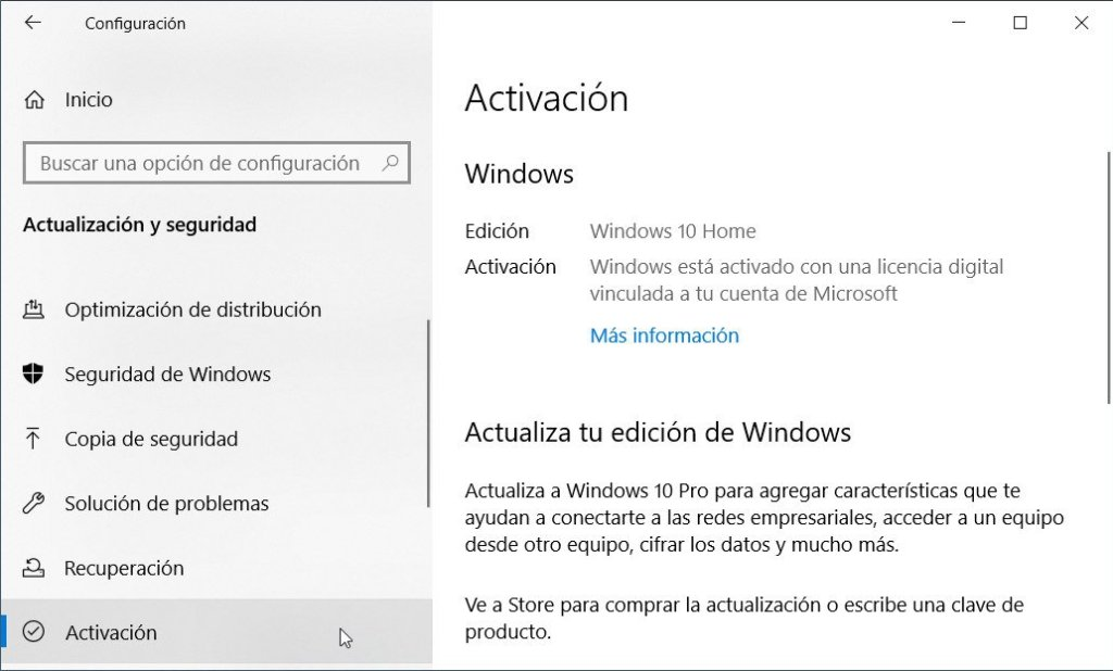 Comprobar activación Windows 10