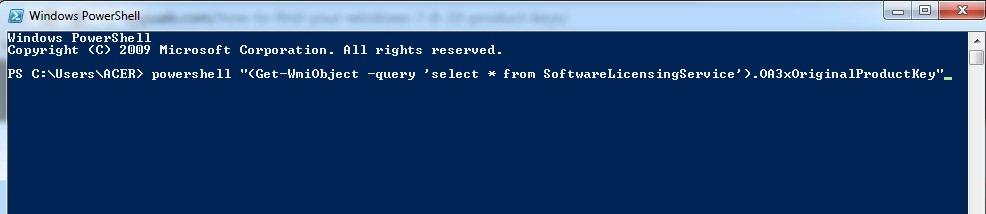 Comando PowerShell Windows 7