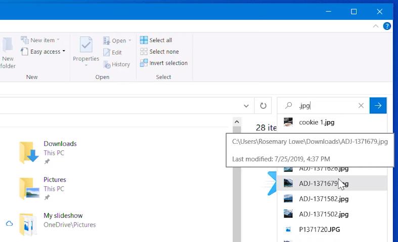 Windows Search en el Explorador de archivos