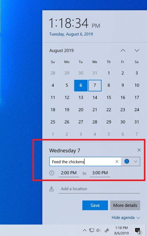 Crea eventos de calendario desde la barra de tareas