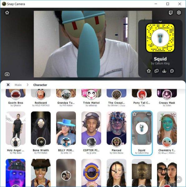 Snap Camera filtros de Snapchat