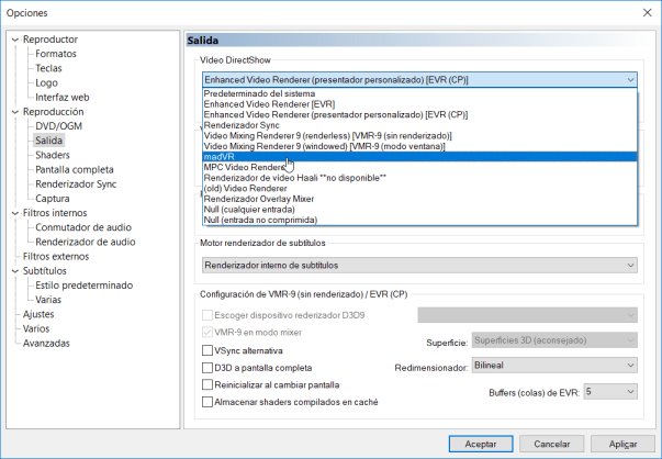 Configurar MadVR en MPC-HC