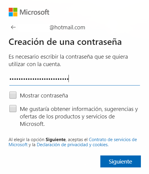 contraseña Microsoft