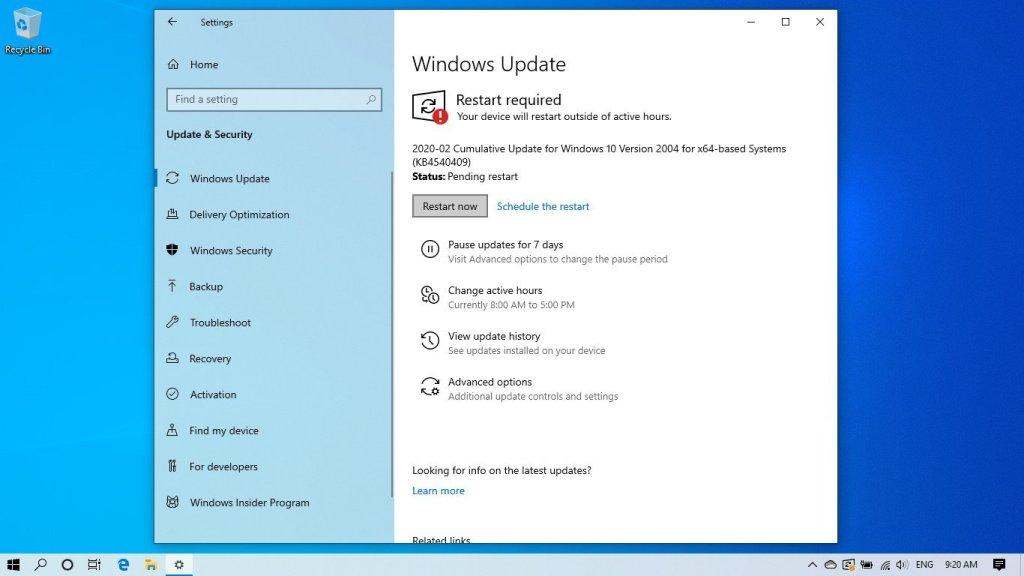 actualizar a Windows 10 2004 Build 19041