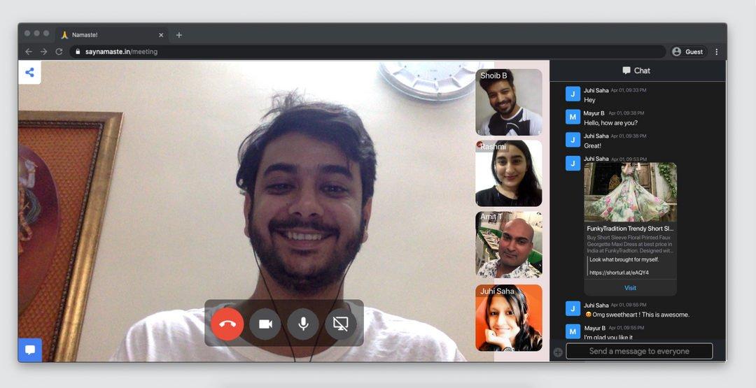 Say Namaste aplicación videollamadas