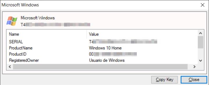 Recuperar clave Windows del registro