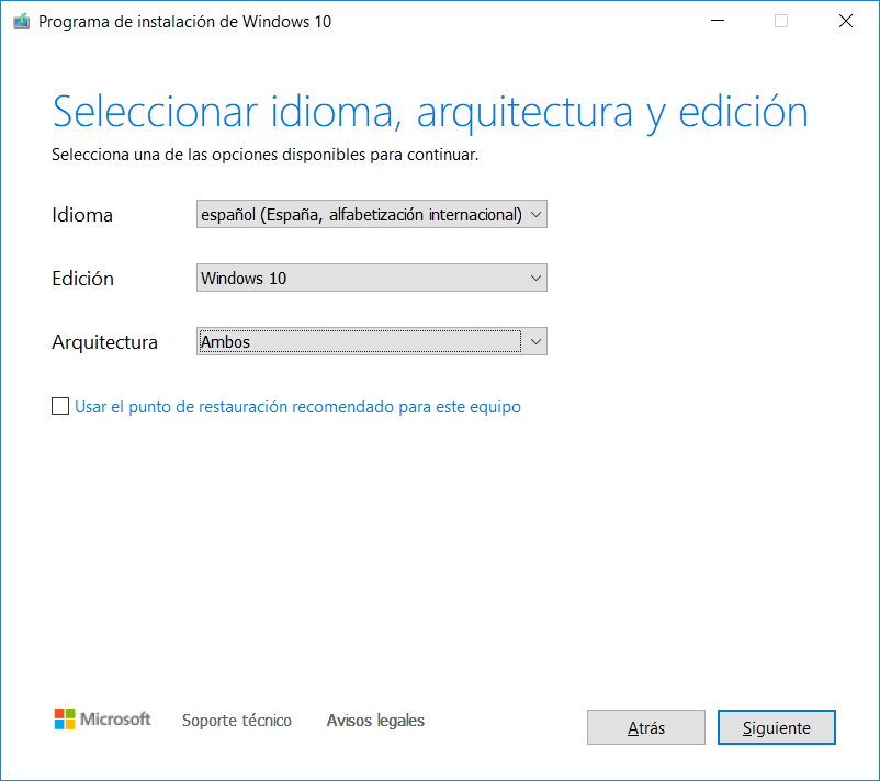 Idioma, edición y arquitectura de Windows 10