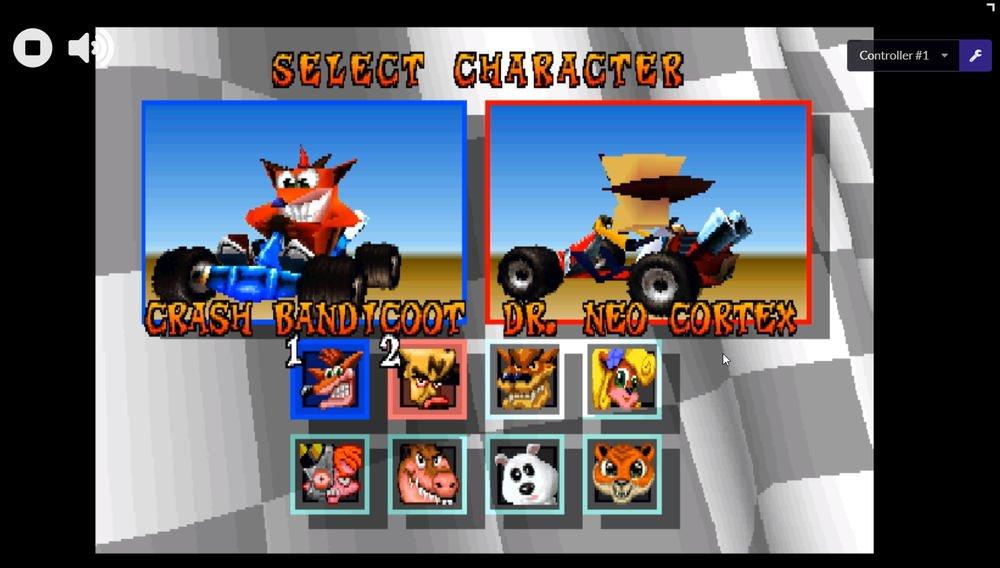 PSX Party emulador PS1 crash carrera