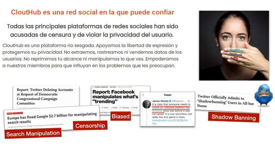CloutHub red social de libertad de expresión