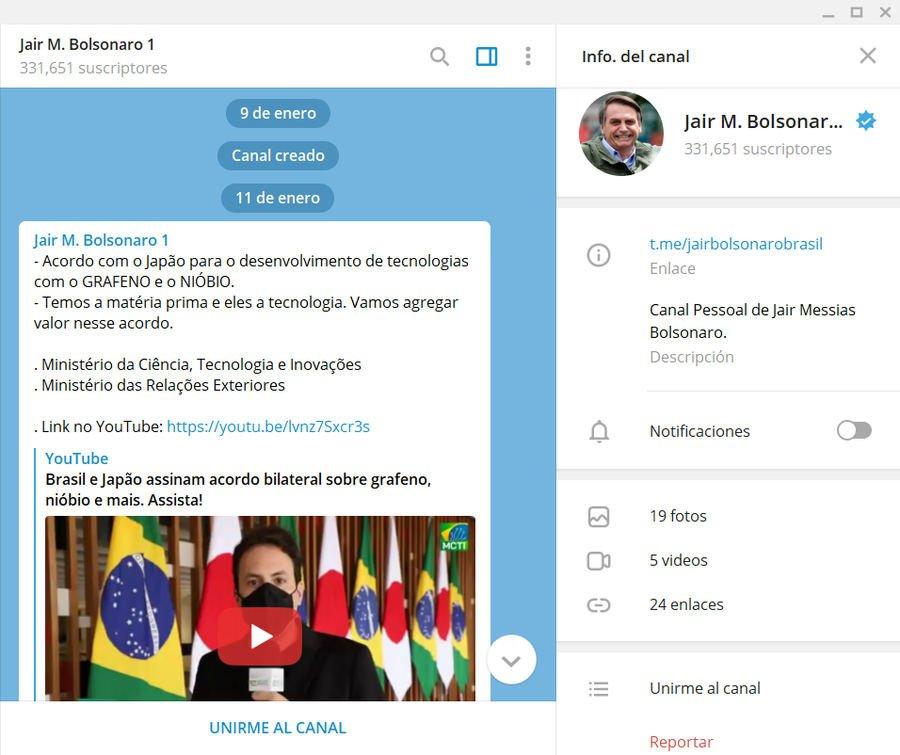 Telegram canales verificados de presidentes