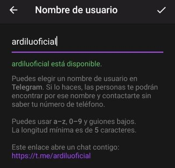 Nombres de usuario Telegram