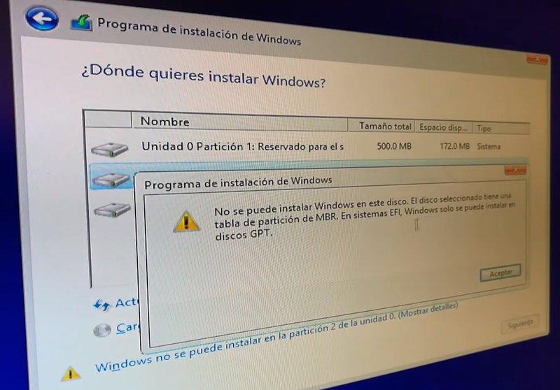 Errores al instalar Windows 10 desde USB