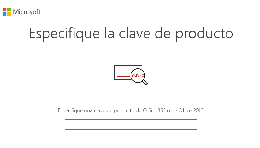 Ingresar clave producto Office