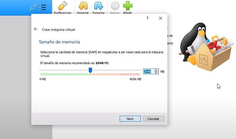 Asignar memoria RAM a la máquina virtual