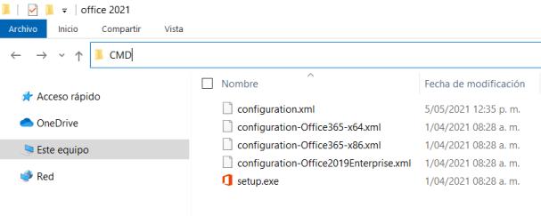 Ejecutar CMD desde la ubicación de setup.exe y configuration.XML