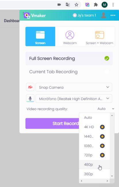 Vmaker grabar pantalla y webcam