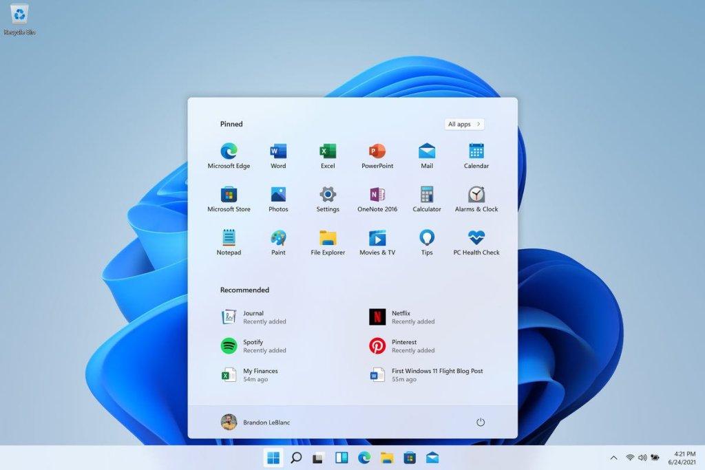 Nuevo menú de inicio de Windows 11
