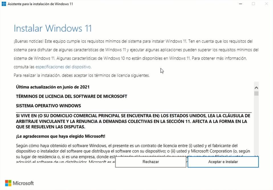 Asistente para la instalación de Windows 11