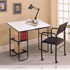 Drafting Table Chairs Antique Wooden 3 Piece Set Desk W Lamp Chair Desks Coaster 2456