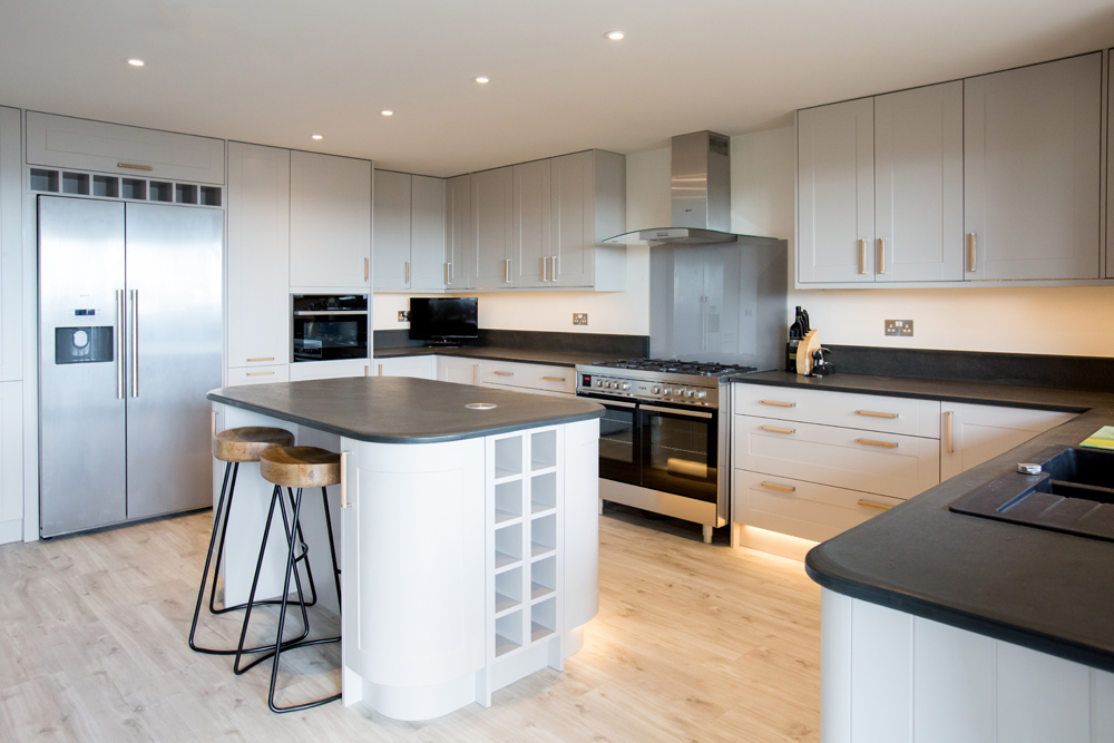 large kitchen islands with seating mobile island oven and hob slate surrounds custom made in the uk