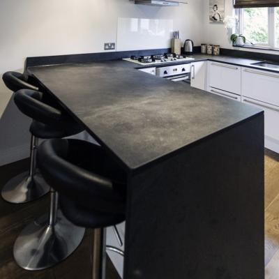 kitchen breakfast bars farmhouse chairs bespoke cut counters and work surfaces in slate to clients ...