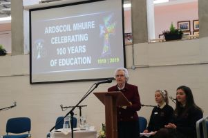Sr Loreto Mc Loughlin speaks at the Ardscoil Mhuire Heritage day