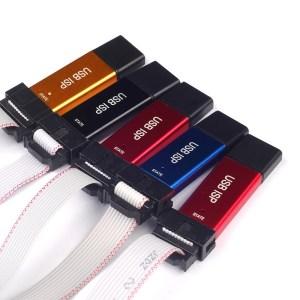 Mini USBISP USBASP Programmatore in alluminio per 51 Atmel AVR + protezione sovracorrente + luci colorate + 64K limite + WIN7 64
