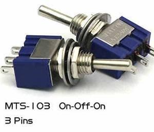 2 Pezzi MTS-103 / 3Pins 3Positions Interruttore a levetta / MTS103