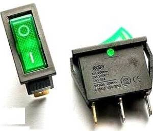 2 Pezzi KCD3 Interruttore tondo verde / KCD3-11-Y / 3pins I / O 15A 250V Switch