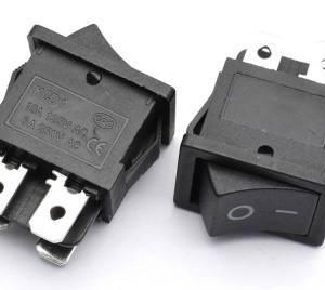 2 Pezzi Interruttore Tondo KCD4 / Interruttore I / O nero / 4 pin 2 Posizioni Interruttore 15A 250V