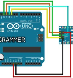 this arduino nano is programmed through its icsp connector with wires coming from d10 d13 of the programmer uno board  [ 1426 x 807 Pixel ]