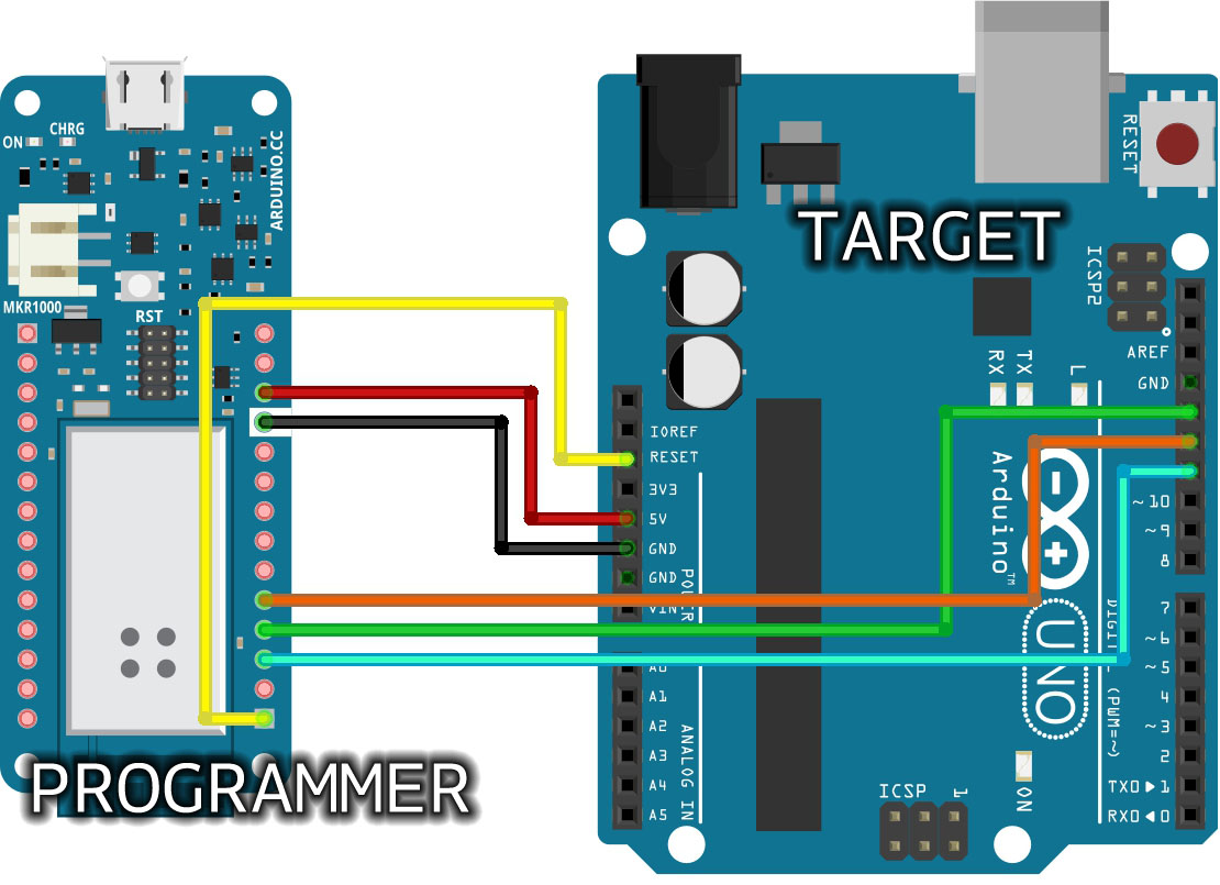 hight resolution of as the programmer make sure to not expose any of the programmer s pins to 5v a simple way to accomplish this is to power the complete system programmer