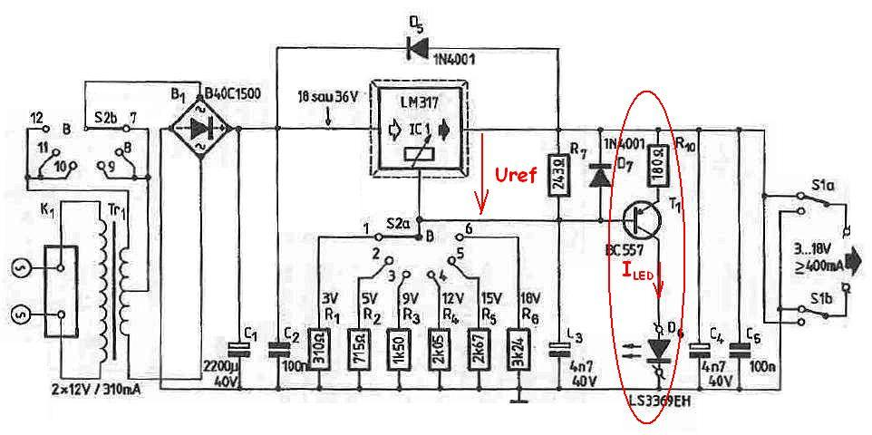 LM317 LM338 LM350 shortcircuit indicator