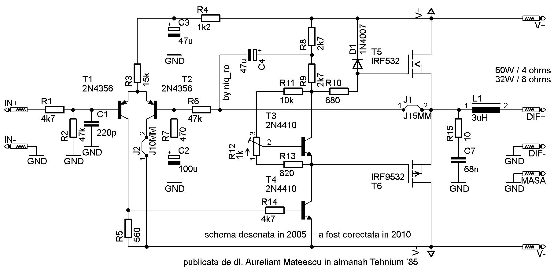 Amplificator Audio Cu Tranzistoare Mos Fet