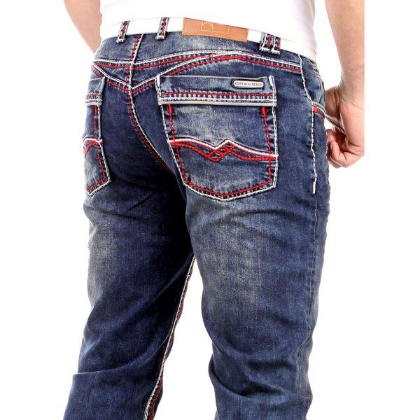 Rusty Neal Jeans Kontrast Naht Stone Wash 8323-31 Blau