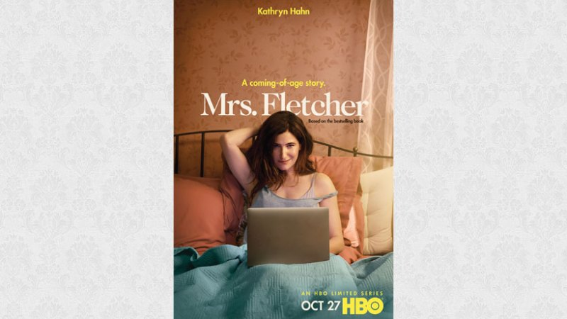 Mrs Fletcher in bed with a laptop