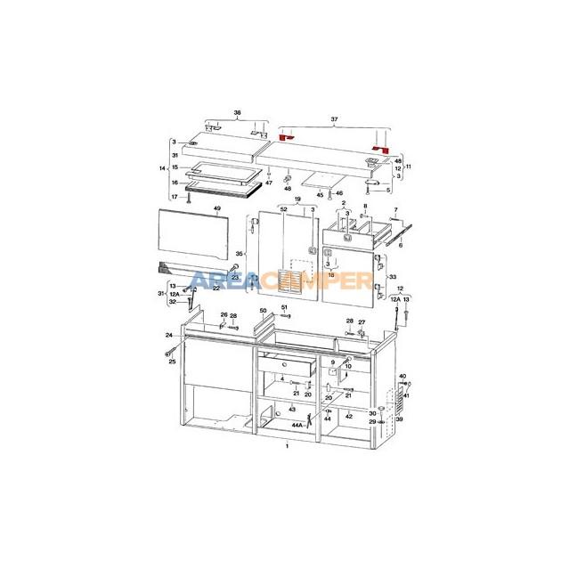 Par de bisagras superior mueble cocina VW T4 California
