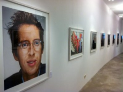 Portraits by Martin Schoeller on display at the CWC Gallery, Berlin, including Wes Anderson (left).