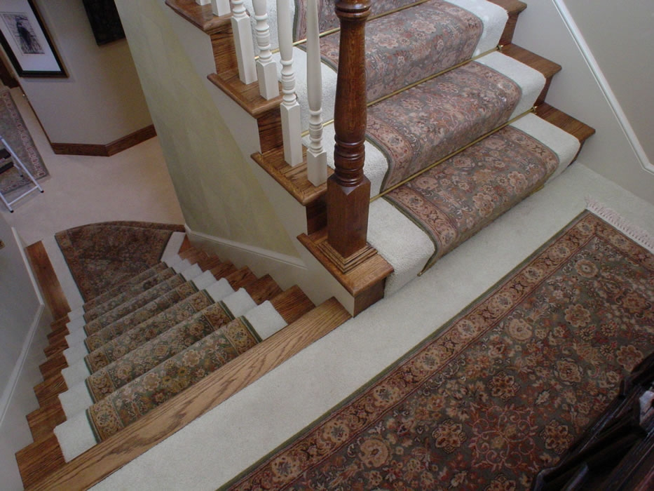 Stair Runner S With Matching Oriental Rug For Landing Installed   Runners On Stairs With Landings   Roger Oates   French Tuck   Annie Selke   Before And After   Runners Up