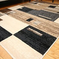 New City Contemporary Modern Squares Wool Area Rug, 5'2 x 7'3, Beige