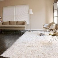Super Area Rugs, Hand-woven Flokati White Shag Rug Natural 5x7 Wool (5ft X 7ft)