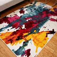 Radiance Art Collection Contemporary Modern Splat Yellow Blue Orange White Wool Area Rug Rugs 6008 7'10 x 10'10