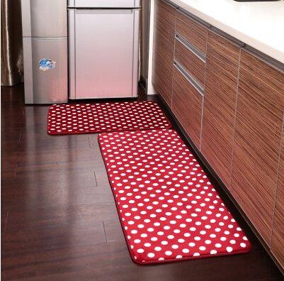 Beautiful Ustide 2 Piece Red Polka Dots Kitchen Rug Set Kitchen Memory Foam Rug Soft  Rug