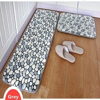 Gray bathroom rug runner