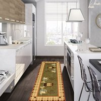 "Siesta Collection Dark Olive Green 20""X59"" Kitchen Collection Coffee Cups Design Machine-Washable Non-Slip Runner Rug"
