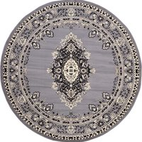 8-Feet by 8-Feet (8' x 8') Round Mashad Gray Area Rug